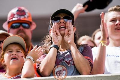 A fan yells during a defensive drive at the game against Old Dominion University in Lane Stadium on Saturday, Sept. 7, 2019. (Photo: Cory Hancock)