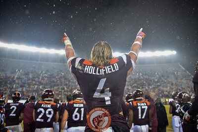 Dax Hollifield celebrates during the matchup against Pitt in Lane Stadium on Saturday, Nov. 23, 2019. (Photo: Cory Hancock/TheKeyPlay.com)