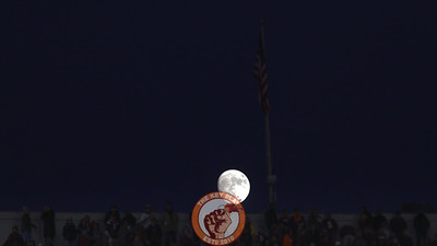 The moon rises over the East stands in the third quarter. (Mark Umansky/TheKeyPlay.com)