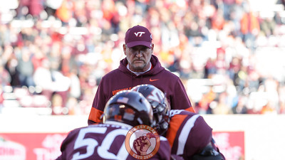 Defensive coordinator Bud Foster watches pre-game warmups before kickoff vs Wake Forest. (Mark Umansky/TheKeyPlay.com)