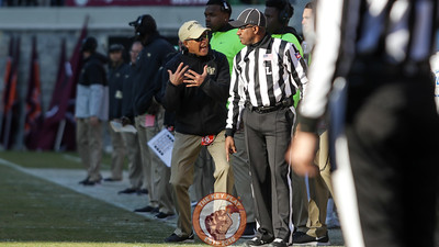 Wake Forest head coach Dave Clawson argues with a referee after a flag was thrown against Wake Forest. (Mark Umansky/TheKeyPlay.com)