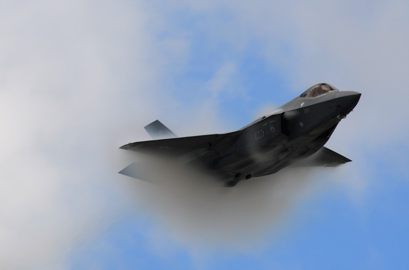 The F-35 Lightning! This aircraft might can strike twice I believe. <br /> <br /> Now I bring the greatest aircraft with some of the highest technology and stealth capabilities. Some feature of this aircraft are highly classified. <br /> <br /> It was flying at almost Mach 1. That's why you see the vapor trails on the wings.