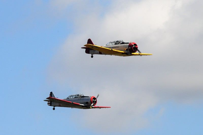 A couple of Navy trainers barring Pensacola NAS.