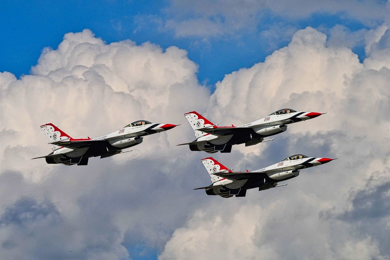 I personally prefer seeing the Thunderbirds over the Blue Angels because my dad is retired Army and Grandpa Goike was in the Air Force. Plus the Air Force was actually part of the Army before coming its own brand. <br /> <br /> I'm making this the cover photo for the album because I just love the cloud drama here.