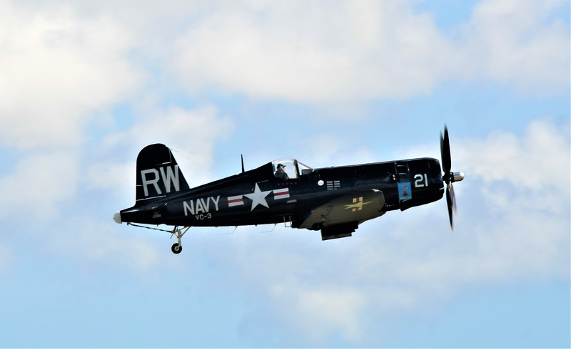 "My favorite WWII Navy/Marine aircraft - The F4U Corsair! The engine has a distinctive whispering sound it makes. The Japanese called it ""whispering death""."
