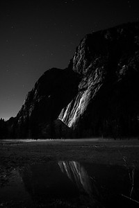 Often my favorite time to photograph Yosemite is at night. The moon light glistens on the granite faces.