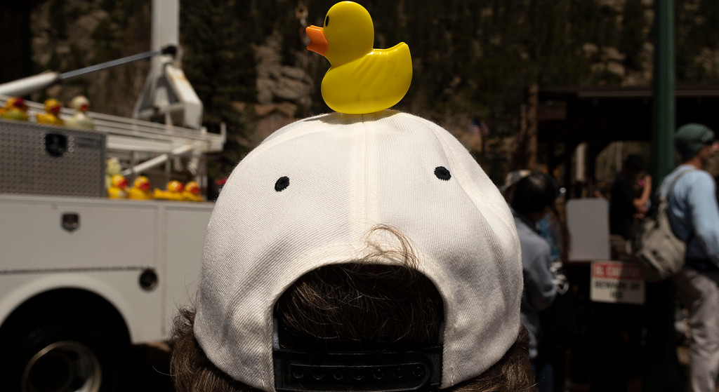 . People dressed in their best duck attire at the Estes Park Duck Race.