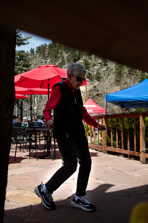 . A woman dances to live music at Nicky�s Steakhouse before the Estes Park Duck Race commenced on May 4, 2019.