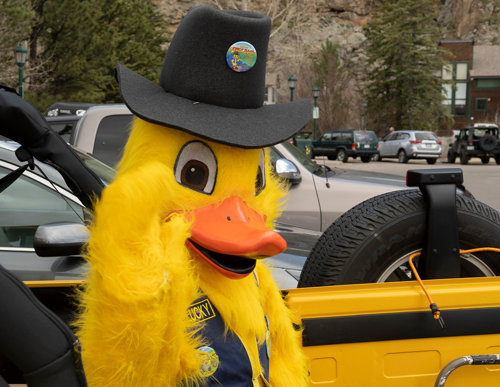 . Lucky Duck greeted all attendees of the Duck Race.