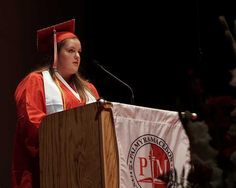 Anna E. Schmandt, Co-Salutatorian giving her speech for Pal-Mac's Class of 2019.