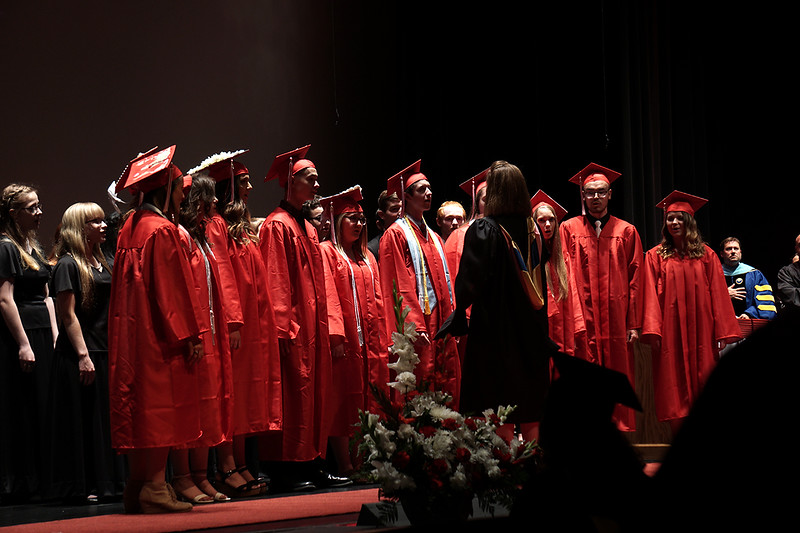 """Pal-Mac's Chior singing the National Anthem for the opening ceremoney of the Class od 2019""""s Graduation."""