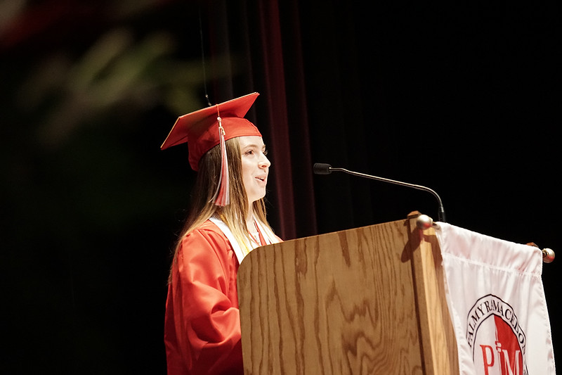 Co-Salutatorian, Marissa R. Muller, speaking for the Class of 2019.