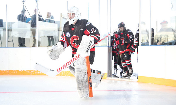 Cariboo Cougars goaltender Devin Chapman takes to the ice against the Vancouver Northeast Chiefs in the Northern Winter Classic on Sunday afternoon. The first ever B.C. Major Midget League outdoor game was held at Ernie Sam Memorial Arena in Ft. St. James in Nak'azdli Whut'en territory. Citizen Photo by James Doyle     January 20, 2019