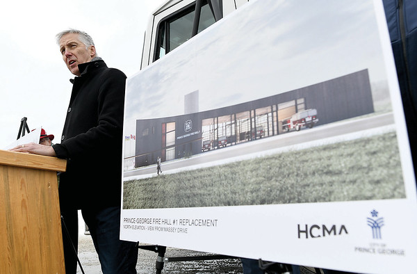 Stuart Rothnie, architect with HCMA Architects speaks about the new plans for Fire Hall #1 Wednesday afternoon. Citizen photo by Brent Braaten