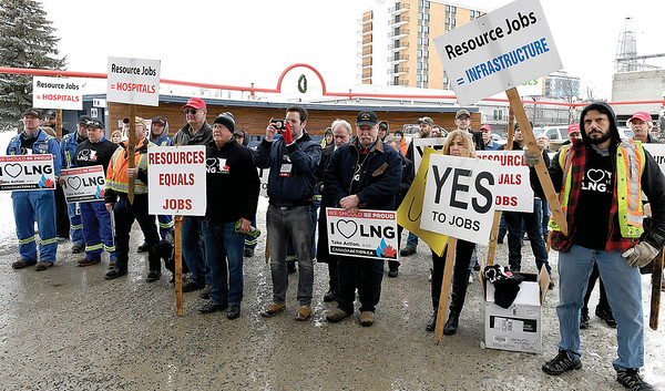 Rally in support of resource communities in Canada Games Plaza outside of the Civic Centre Wenesday. Citizen photo by Brent Braaten