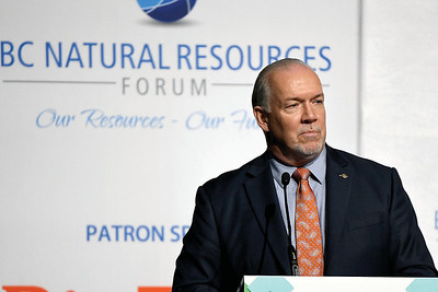 Premier John Horgan at the BC Natural Resources Forum Wednesday. Citizen photo by Brent Braaten