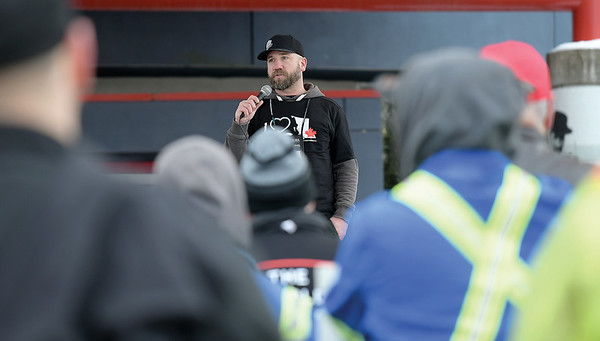Organizer David Johnston at a rally in support of resource communities in Canada Games Plaza outside of the Civic Centre Wenesday. Citizen photo by Brent Braaten