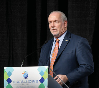 Premier John Horgan at the BC Natural Resourceses Forum Wednesday. Citizen photo by Brent Braaten