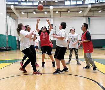A game between Nusdeh Yoh Elementary (in red) and Van Bien Elementary Friday morning in the Northern Sports Centre during Junior Timberwolves School District 57 Hoops Classic elementary school basketball tournament. Citizen photo by Brent Braaten