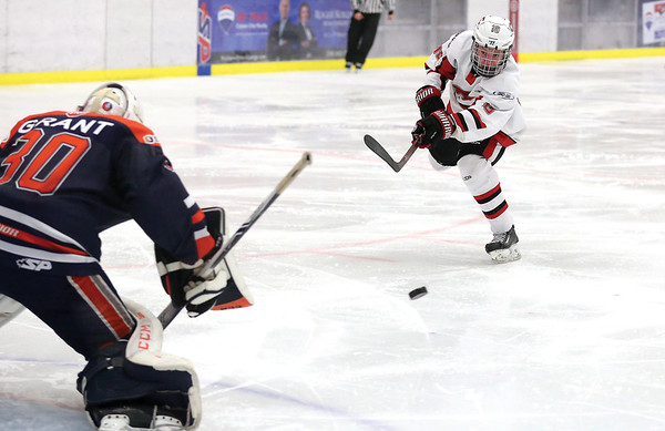 Cariboo Cougars forward Curtis Hammond breaks in alone and fires a shot blocker-side on Thompson Blazers goaltender Kobe Grant on Sunday morning at Kin 1 as the two teams met in the second game of a weekend series. Citizen Photo by James Doyle     January 27, 2019