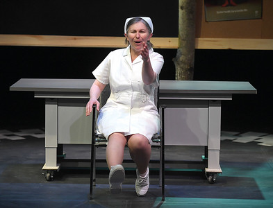 Julia Mackey as Heather Rose in Theatre Northwest rehersal for The Occupation of Heather Rose. Citizen photo by Brent Braaten