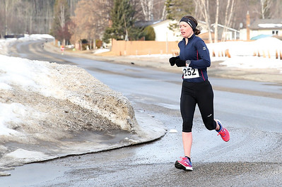Sharleen Balogh makes her way along Malaspina Avenue on Sunday morning while competing the 5 km distance of the Heights 5'er. Balough finished with a time of 18:35. 115 runners took part in the annual race hosted by the Prince George Road Runners with 66 runners tackling the 5km distance, and 49 runners taking on the 5 mile distance. Citizen Photo by James Doyle       March 24, 2019