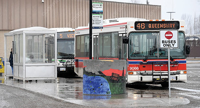 Transit bus stop at Pine Centre Mall. The city is changing fairs for the transit system. Citizen photo by Brent Braaten