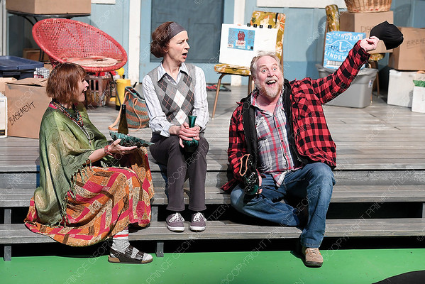 Theatre Northwest rehersal of Meet My Sister! Left to right Linda Prystawska as Stella, Sharon McFarlane as Blanche and Julien Arnold as Sly. The play runs fron March 28th to April 17th. Citizen photo by Brent Braaten