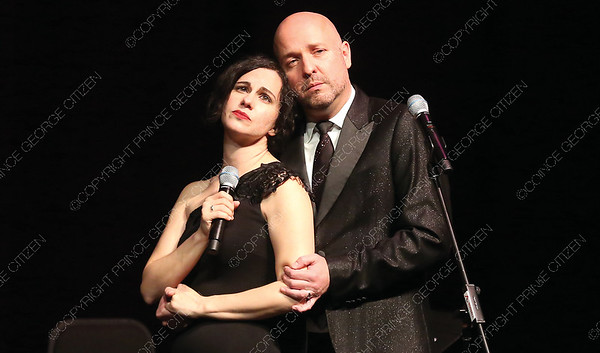 Erin Shields, left, and Giuseppe Spoletini sing on Sunday night at Prince George Playhouse during O Sole Trio's Bravissimo Broadway performance. The trio performed a number of classic Broadway hits from such musicals as Cats, and Phantom of the Opera. Citizen Photo by James Doyle       May 26, 2019