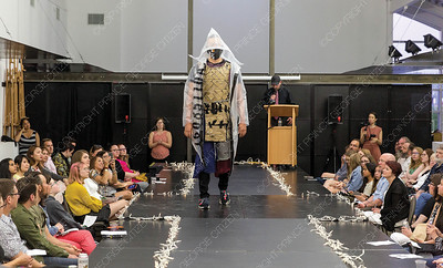Wearable art designed by John Bondoc and Derek Ellis is modelled on Saturday night at Two Rivers Gallery during their first ever Trashion Show. Citizen Photo by James Doyle     May 25, 2019