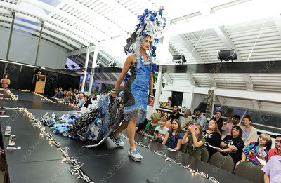 Wearable art designed by Janna Burgat is modelled on Saturday night at Two Rivers Gallery during a Trashion Show. Citizen Photo by James Doyle     May 25, 2019