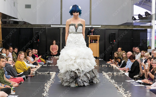 Wearable art designed by Candice Chermerinski is modelled on Saturday night at Two Rivers Gallery during their first ever Trashion Show. Citizen Photo by James Doyle     May 25, 2019