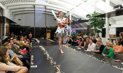 Wearable art designed by Sebastian Nicholson is modelled on Saturday night at Two Rivers Gallery during their first ever Trashion Show. Citizen Photo by James Doyle     May 25, 2019