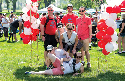 A group of walkers pose for a photo at Lheidli T'enneh Memorial Park on Sunday during the annual MS Walk. Citizen Photo by James Doyle     May 26, 2019