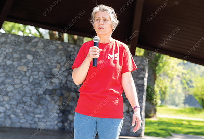 Sandy Stibrany shares her story about MS at Lheidli T'enneh Memorial Park on Sunday during the annual MS Walk. Citizen Photo by James Doyle     May 26, 2019