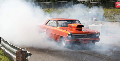The box drag racer of Kelsey Dufresne does a burnout to warm up the tires on Sunday afternoon at NITRO Motorsports Park during the Big Bux Shootout drag races. Citizen Photo by James Doyle        July 28, 2019