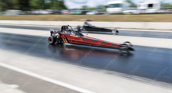 Junior drag racers speed down the Rolling MIx Concrete Raceway on Sunday afternoon at NITRO Motorsports Park during the Big Bux Shootout drag races. Citizen Photo by James Doyle        July 28, 2019