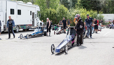 Junior drag racers make their way to the starting area of the Rolling MIx Concrete Raceway on Sunday afternoon at NITRO Motorsports Park during the Big Bux Shootout drag races. Citizen Photo by James Doyle        July 28, 2019