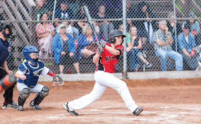 PG Floor Fashions Knights player Aiden Hesselund watches the ball go over the right field fence after crushing a three-run homerun on Saturday evening at Gyro Park. The Knights took on the Quesnel Blue Jays in Single-A peewee baseball zone playoffs. Citizen Photo by James Doyle        July 27, 2019