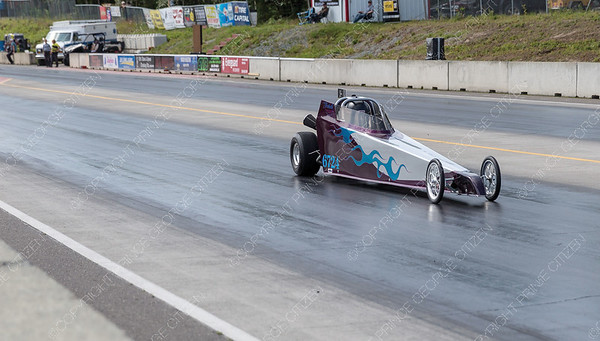 The junior drag racer of Isabella Mercer speeds down the Rolling MIx Concrete Raceway on Sunday afternoon at NITRO Motorsports Park during the Big Bux Shootout drag races. Citizen Photo by James Doyle        July 28, 2019