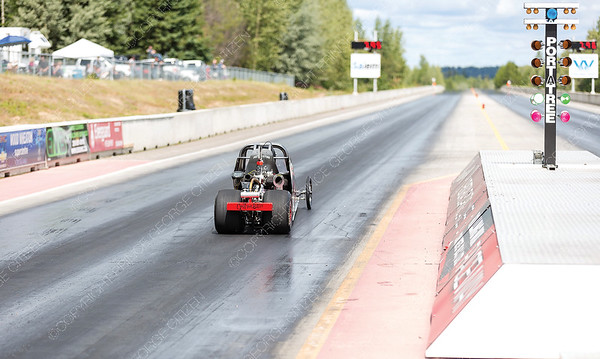 The junior drag racer of Noah Macdonald takes off from the starting line of the Rolling MIx Concrete Raceway on Sunday afternoon at NITRO Motorsports Park during the Big Bux Shootout drag races. Citizen Photo by James Doyle        July 28, 2019