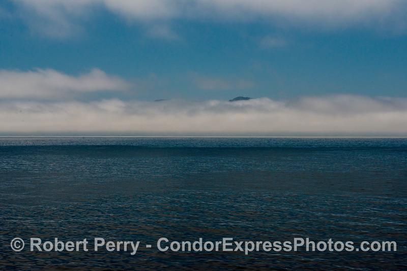Wide angle view:  fog bank at Santa Cruz Island.
