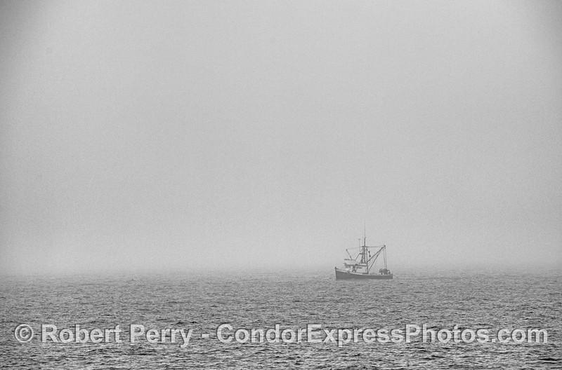 Fishing boat in the fog.