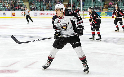 Local hockey product Jacob Gendron plays defence for the Vancouver Giants as they take on the Prince George Cougars on Friday night at CN Centre. Citizen Photo by James Doyle