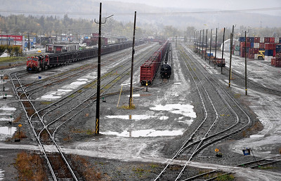CN Rail yard on First Avenue photographed from the River Road overpass.