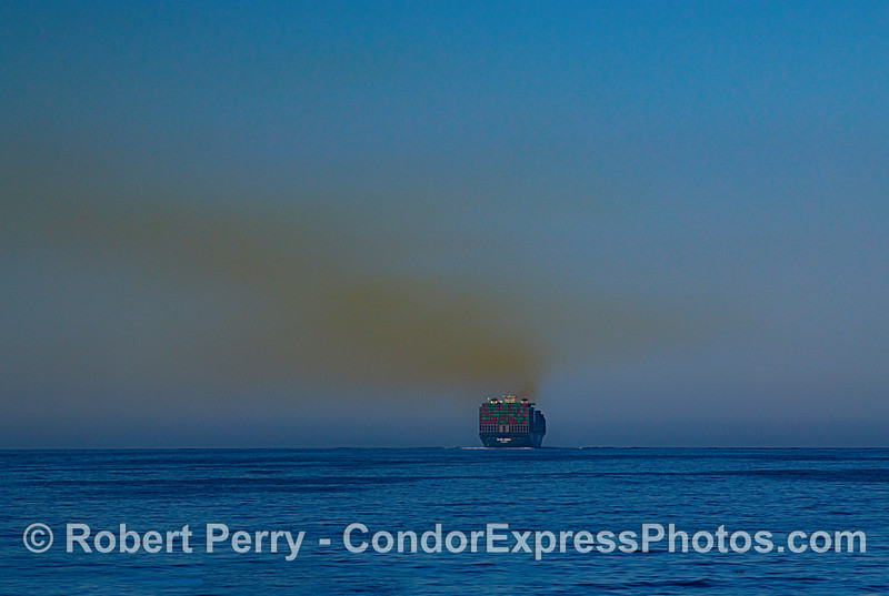 "Container cargo ship ""Ever Sigma"" and its signature smoke trail in the Santa Barbara Channel as it passes by our Channel Islands National Parks."