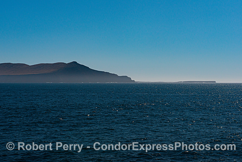 The west end and Fraser Point, Santa Cruz Island.  Looking south from the Channel.