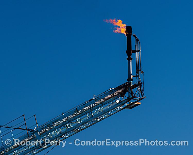 Gas burn-off flame on Platform Hillhouse.