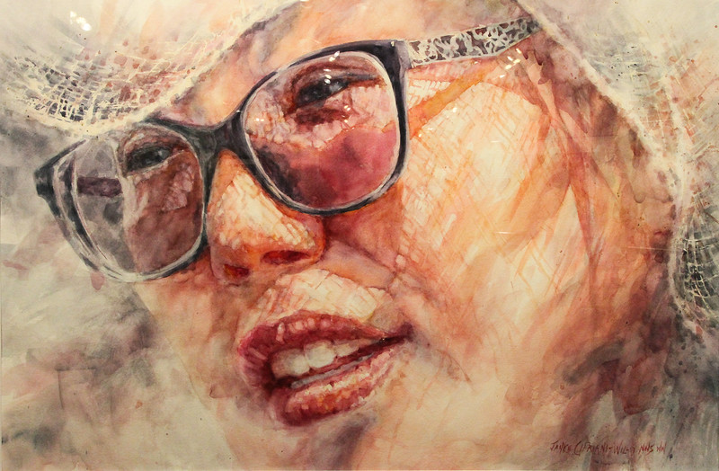 """""""Veiled Smile"""" by artist Janice Capriani-Willis wins first place at the World of Watercolor & Beyond show which will be displayed until April 21. Shane Gibson photos."""