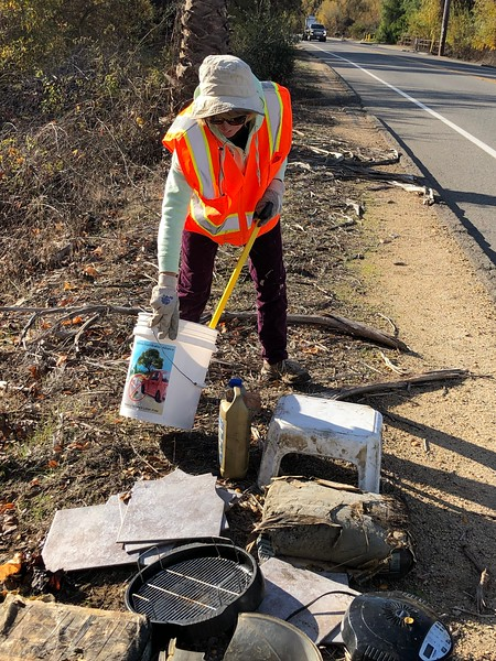 Marta Donovan, Fallbrook Beautification Alliance director and Litter Free program coordinator, finds all kinds of trash to clean up in Zone 5.